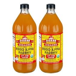 2 Bragg Organic Vinegar Raw Unfiltered Apple Cider 32 FL Oz