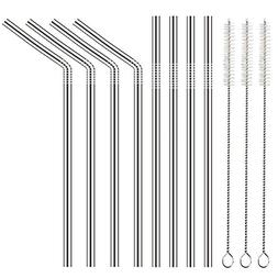 8 pcs reusable stainless steel straws