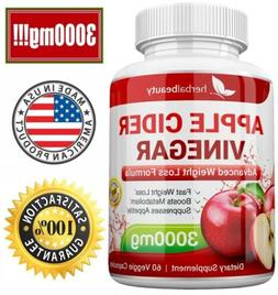 Herbal Beauty APPLE CIDER VINEGAR Pills 3000mg PURE WEIGHT L