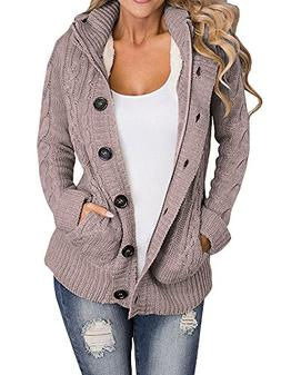 cable knit cardigan hooded sweater
