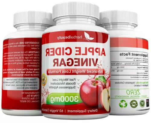2 x Beauty APPLE VINEGAR 3000mg LOSS CAPSULES