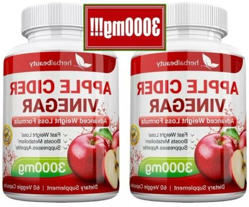 2 x APPLE CIDER Pills 3000mg CAPSULES USA