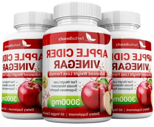 3 APPLE CIDER VINEGAR 3000mg WEIGHT LOSS CAPSULES