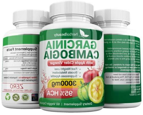 3 GARCINIA CAMBOGIA APPLE CIDER Loss 3000mg