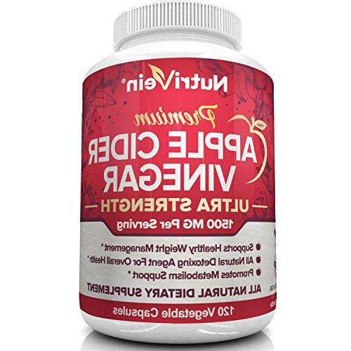 Nutrivein Apple Cider Capsules 1500mg - 120 Healthy Weight Digestion, Blood Sugar Immune System - Suppressant