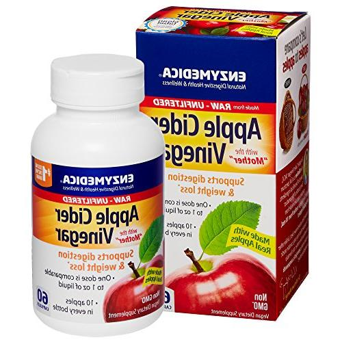 Enzymedica - Vinegar, Support Digestion Balance The Mother Preserved in Each Raw, Unfiltered, 60 Capsules