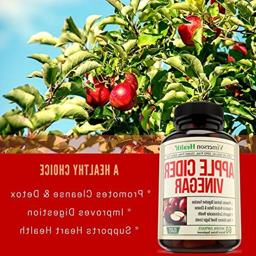 Apple Cider Vinegar - 100% Powerful Detox Cleanse Support. Promotes Heart and Immune Helps Balance - ACV - Dairy, Gluten