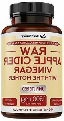 High Strength Raw Apple Cider Vinegar Capsules with Mother 1