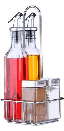 Oil and Vinegar Dispensers 5 Piece Combo Set - Includes Glas