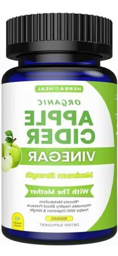 Organic Apple Cider Vinegar Capsules 1600MG with The Mother,