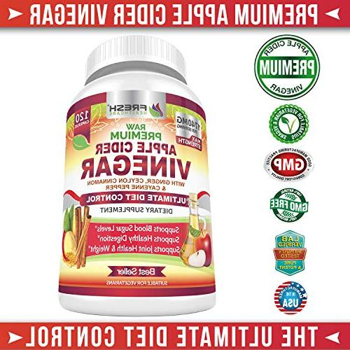 Organic Vinegar Pills 100% Natural Raw with & Cayenne Ideal Sugar, Weight & Digestion Vegan Capsules