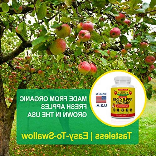 100% Organic Raw Apple Cider All Natural Gut Cleanse & ACV Pills Loss, Burner, Suppressant Metabolism Supplement