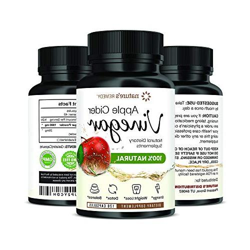 100% Natural Cider Vinegar Apple Weight Loss Pills with Cayenne Pepper for Cleanse, Relief