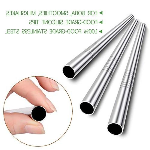 """Stainless Steel Boba and Smoothie Straws Silicone Tips, 12mm/0.5"""" Metal Pack for Bubble Tea, Jumbo Drinks 2 Cleaning"""