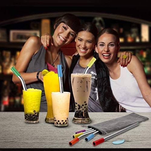 """Stainless and Smoothie with Silicone 12mm/0.5"""" Metal Pack 10"""" for Bubble Jumbo Drinks with Cleaning Brushes"""