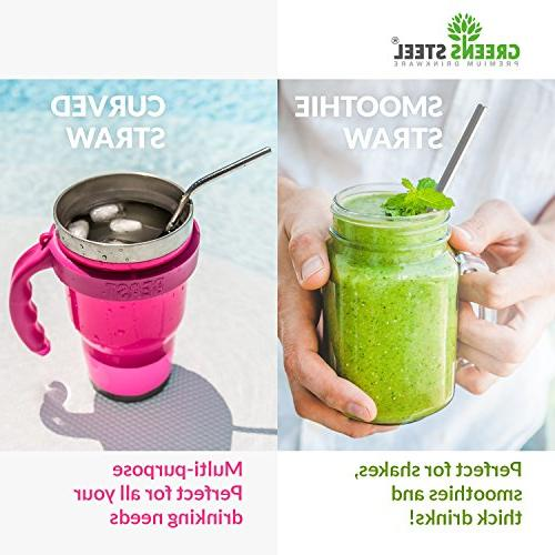 Stainless Straw - Reusable 2 Wider/Straight Smoothies, Coffee - - Eco-Friendly Solution Greens