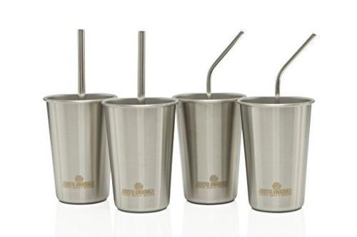 Stainless Steel - Pack of 2 Curved Wider/Straight - Smoothies, - Brush - Eco-Friendly Greens Steel