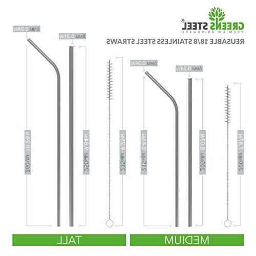 Stainless Steel - Reusable 2 & Wider/Straight Straws Smoothies, & - - Eco-Friendly Solution Greens