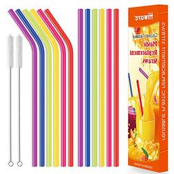 """12 Pack Reusable Straws, Hiware 10.5"""" Colored Replacement St"""