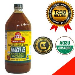 BRAGGS APPLE CIDER Vinegar 32 ounce Miracle Cleanse USDA Mad