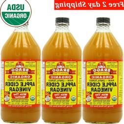 BRAGGS APPLE CIDER Vinegar with Mother 32 ounce  Organic Raw